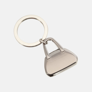 Metallnyckelringar formade som handväskor med lasergravyr