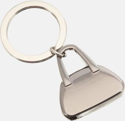 Silver Metallnyckelringar formade som handväskor med lasergravyr