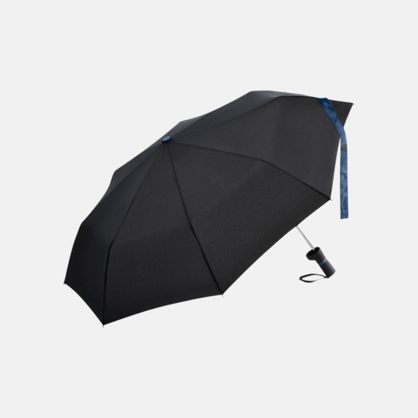 Svart / Marinblå Paraplyer med skaftet på sidan - med reklamtryck