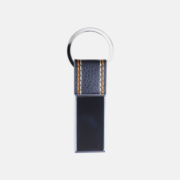 Svart/silver Nyckelringar av metall och läderimitation med egen lasergravyr