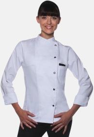 Vit (långärmad) Lång- och kortärmade kockjackor i dammodell med reklamtryck