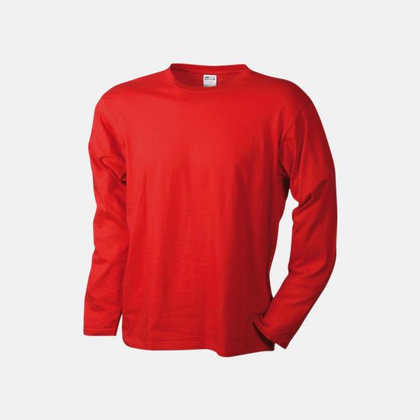 Röd (herr) Långärmade t-shirts i herr-, dam- & barnmodell med reklamtryck