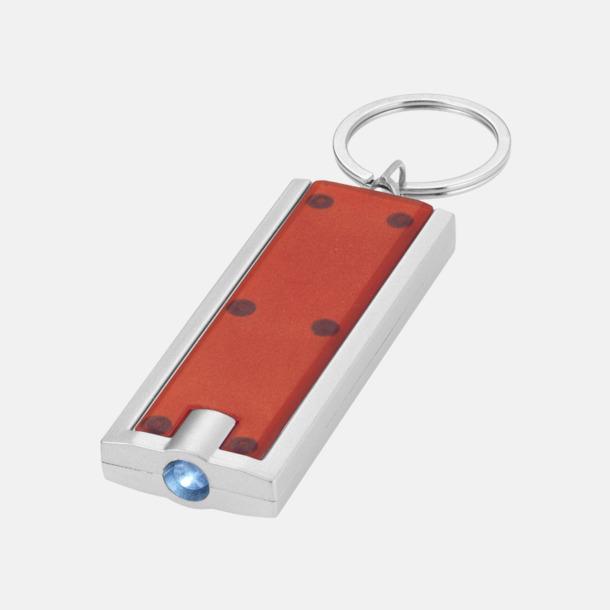 Röd Ficklampa till nyckelringen med reklamtryck