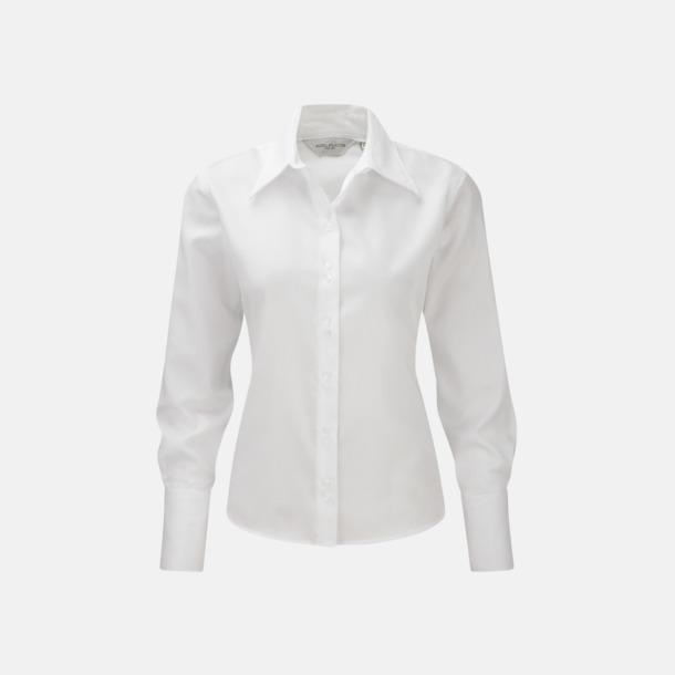 Vit (långärmad) Strykfri damskjorta med reklamlogo
