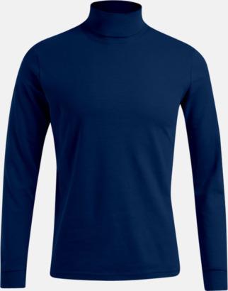 Marinblå Långärmad t-shirt med turtle neck - med tryck