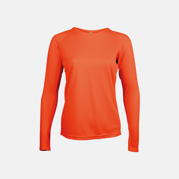 Floucerande Orange Sport t-shirts med långa ärmar för kvinnor - med reklamtryck