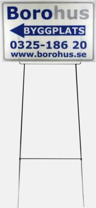 Vit Mäklarskyltar i flera storlekar med reklamtryck