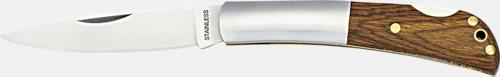 Silver / Mörkt trä Proffsiga fickknivar med lasergravyr