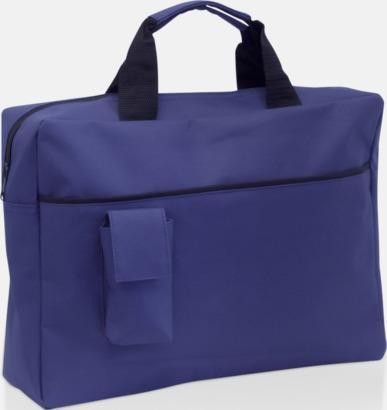 Blå Dokumentväskor med mobilfickor - med tryck