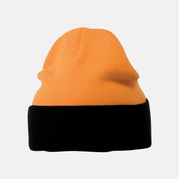Orange/Svart Mössor med uppvik i kontrasterande färg - med reklambrodyr