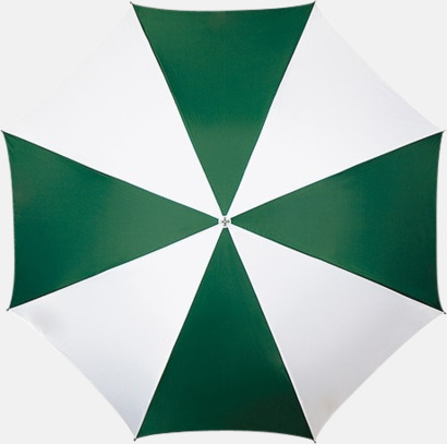 Mörkgrön / Vit Randigt paraply med ergonomiskt trähandtag