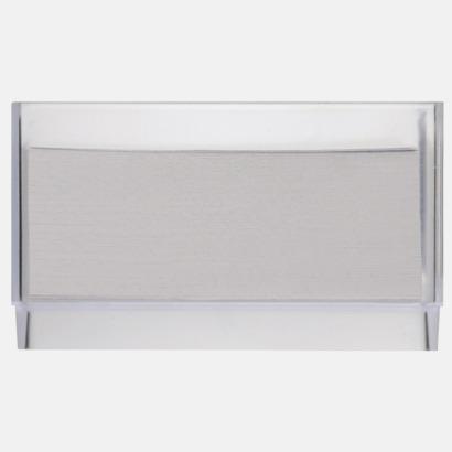 Baksida Plastkub med vita anteckningspapper - med reklamtryck