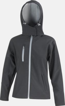 Svart/Grå (dam) Hooded softshell-jackor i herr- & dammodell med reklamtryck