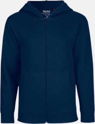 Marinblå (med blixtlås) Ekologiska barntröjor med eller utan blixtlås - med reklamtryck