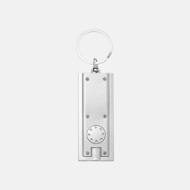 Silver (baksida) Ficklampa till nyckelringen med reklamtryck