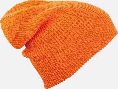 Orange Längre beaniemössa med brodyr
