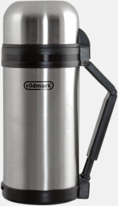 Borstad silver Stor termos för mat eller dryck- 1,2 liters termos med dubbla muggar