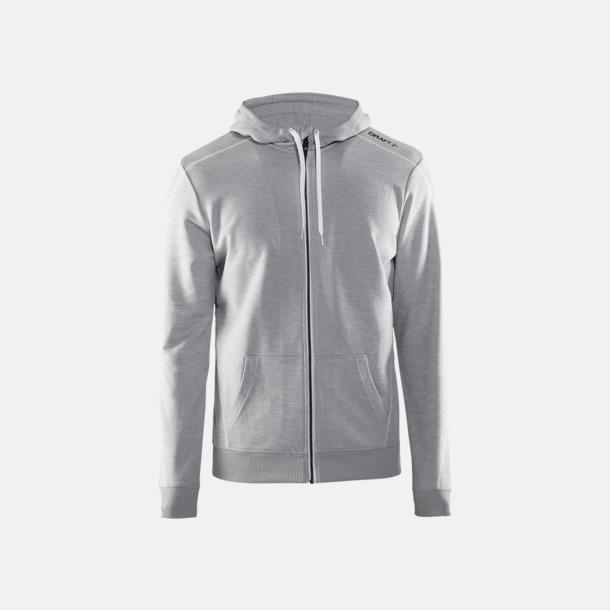 Grey Melange/Vit/Grey Melange Tränings huvtröjor med dragkedja med reklamtryck