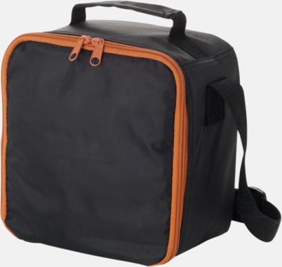 Svart / Orange Kompakt kylväska med matlådor - med reklamtryck