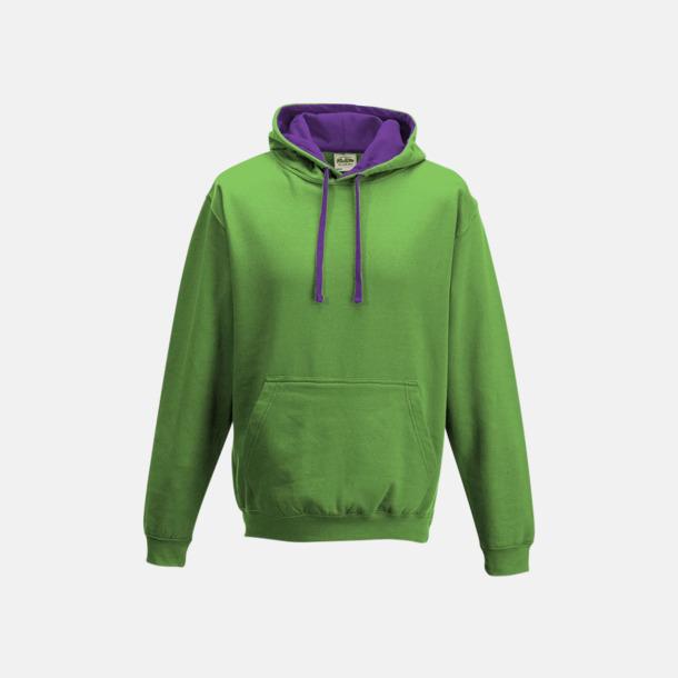 Limegrön/Magenta Magic Huvtröjor med insida av luva och dragsko i kontrasterande färg - med reklamtryck