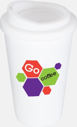Vit Kaffemuggar för utemiljöer med lock