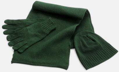 Mörkgrön Set med mössa, vantar och halsduk med reklambrodyr