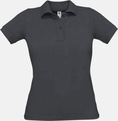 Dark Grey (solid) Pikétröjor med tryck för dam
