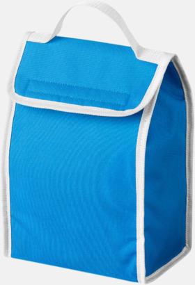 Aqua Blue/Vit Liten kylväska för lunchen med reklamtryck