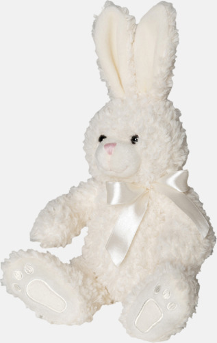 Cream Kanin med rosett - med reklamtryck