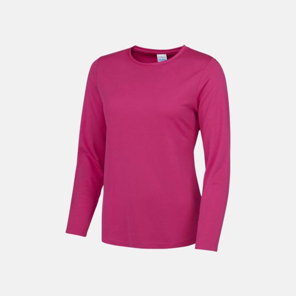 Hot Pink (dam) Unisex tränings t-shirts med långa ärmar - med reklamtryck