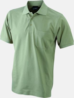 Khaki Fickförsedda pikétröjor med reklamtryck