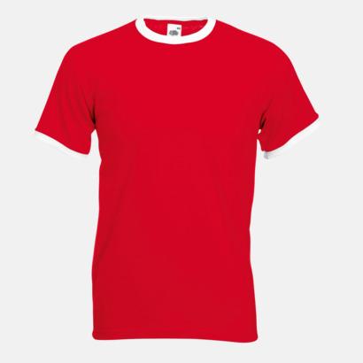 Röd/Vit T-shirt med kontrasterande färger - med reklamtryck
