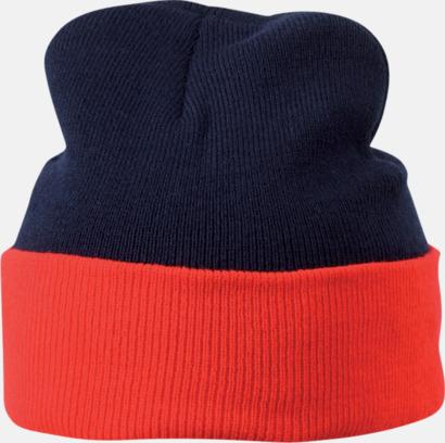 Marin/Röd Mössor med uppvik i kontrasterande färg - med reklambrodyr