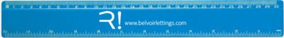 Blå 30 cm-linjaler i många färger med reklamtryck