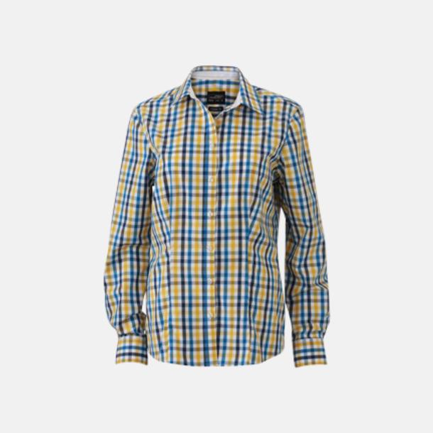Vit/Blå-Gul/Vit (dam) Rutiga bomullsskjortor & -blusar med reklamtryck