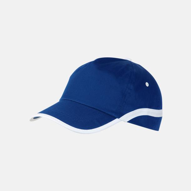 Blå / Vit Snygga och billiga kepsar med reklamtryck
