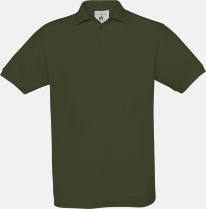 Khaki Kortärmade pikétröjor med egen brodyr