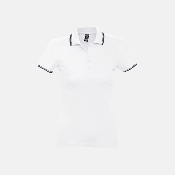Vit/Marinblå (dam) Snygga pikétröjor för herr och dam