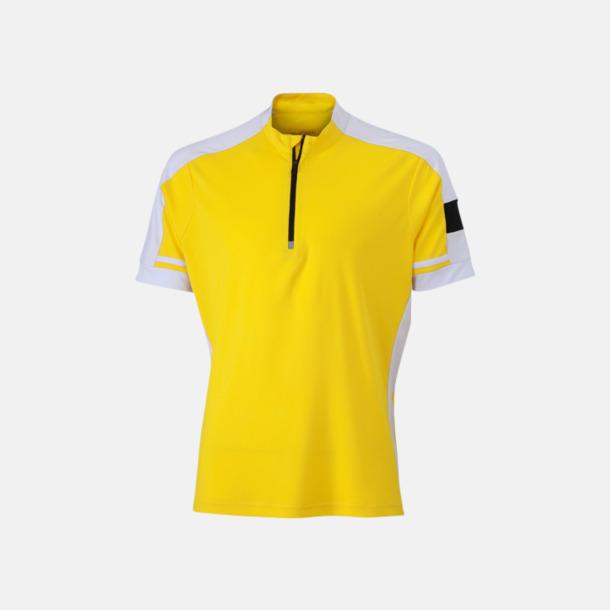 Sun Yellow (herr) Herr- och dam cykeltröjor med reklamtryck