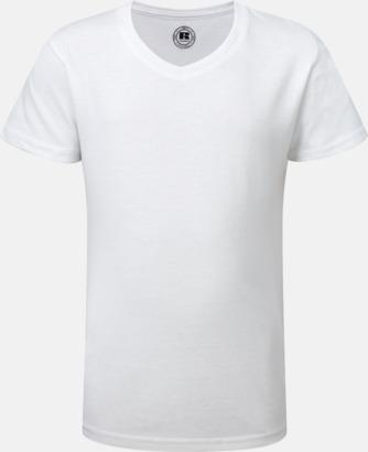 Vit (v-neck flicka) Sublimerings t-shirts i barn- & ungdomsmodell