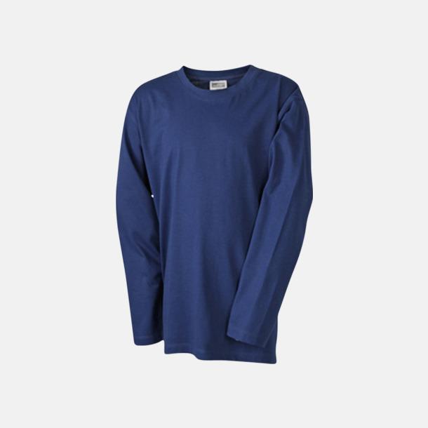 Marinblå (barn) Långärmade t-shirts i herr-, dam- & barnmodell med reklamtryck