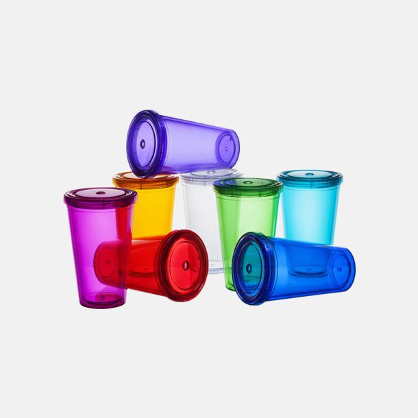 Plastmuggar med lock och sugrör - med reklamtryck