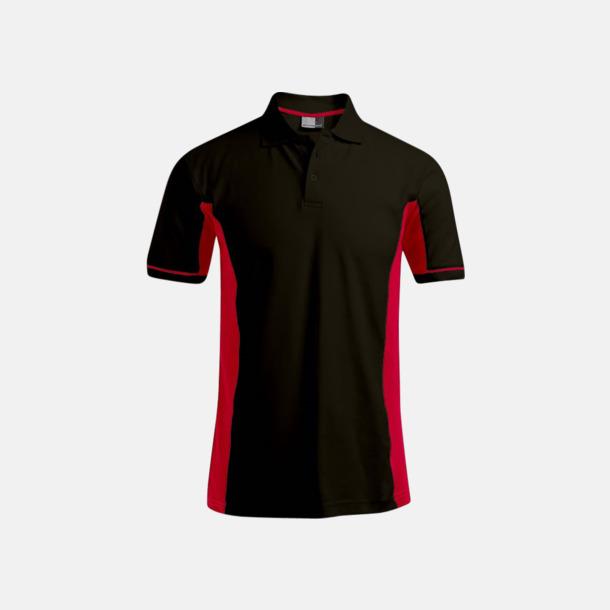 Svart/röd (herr) Pikétröjor i funktionsmaterial med tryck