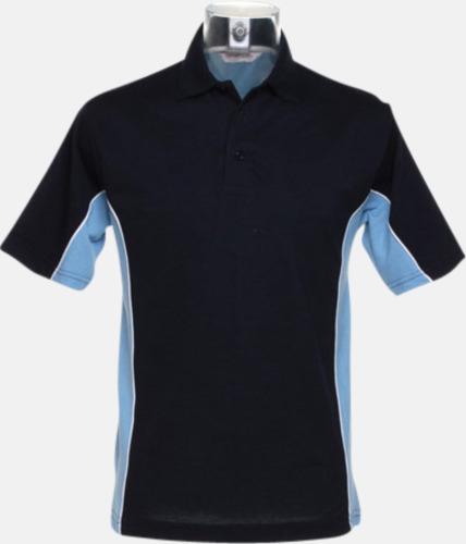 Marinblå/Ljusblå/Vit Sportiga pikétröjor med reklamtryck eller -brodyr