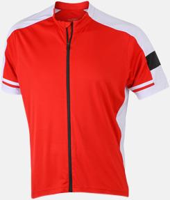 Röd (herr) Herr- och damcykeltröjor med hel dragkedja - med reklamtryck