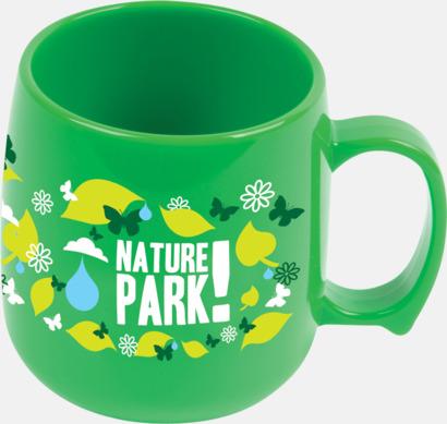 Grön Kupformade plastmuggar med reklamtryck