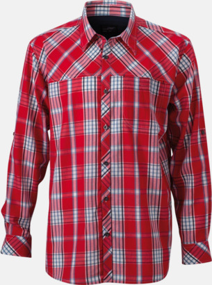 Röd/Marinblå (herr) Rutiga dam- och herrskjortor med reklamtryck