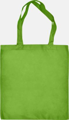 Ljusgrön - Långa handtag Bärkassar med långa eller korta handtag i Non Woven - med tryck