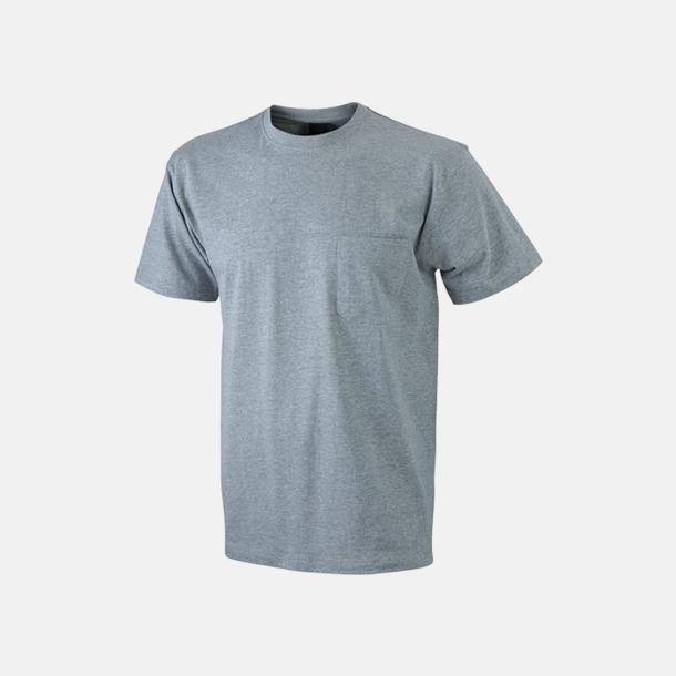 Grey Heather T-shirts med bröstficka i matchande färg - med reklamtryck
