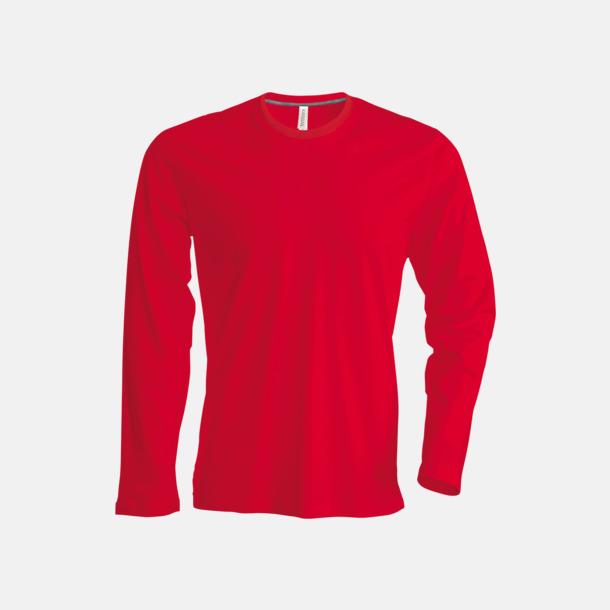 Röd (crewneck, herr) Långärmad t-tröja med rundhals för herr och dam med reklamtryck
